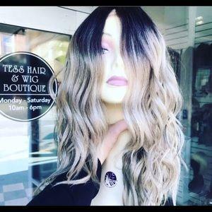 Accessories - Ash blonde ombré wig human hair blends wavy wig